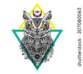 detailed owl in aztec style | Shutterstock .eps vector #307080065