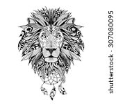 detailed lion in aztec style | Shutterstock .eps vector #307080095