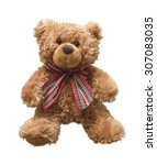 Small photo of Teddy bear isolated on white background