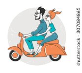 happy couple on a scooter.   Shutterstock .eps vector #307084865