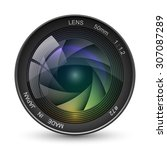 front view of photo camera lens ...   Shutterstock .eps vector #307087289