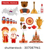 travel to russia. set of icons... | Shutterstock .eps vector #307087961