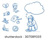 sad teenage girl having... | Shutterstock .eps vector #307089335