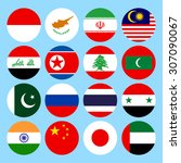 circle flags icons in flat... | Shutterstock .eps vector #307090067