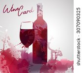 bottle and glass of wine made... | Shutterstock .eps vector #307090325