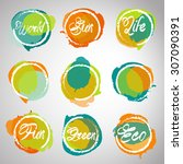 headline icons set watercolor... | Shutterstock .eps vector #307090391