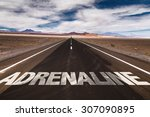 Small photo of Adrenaline written on desert road