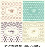 retro mono line frames with... | Shutterstock .eps vector #307092059