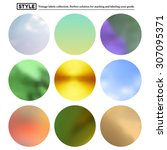 set of colorful blurred round... | Shutterstock . vector #307095371