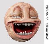 laughing hyper troll head 3d... | Shutterstock . vector #307097261