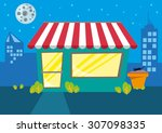 a store or restaurant at night... | Shutterstock .eps vector #307098335