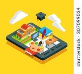 modern school classroom... | Shutterstock .eps vector #307099034
