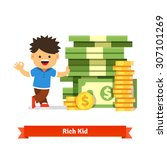 boy kid standing and leaning to ... | Shutterstock .eps vector #307101269
