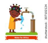 happy smiling african girl... | Shutterstock .eps vector #307102124