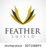 feather shield gold elegant... | Shutterstock .eps vector #307108895