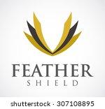 feather shield gold elegant...   Shutterstock .eps vector #307108895
