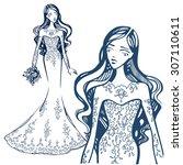 bride. beautiful young girl in...   Shutterstock .eps vector #307110611