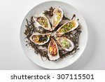 fine dinning oysters plate in... | Shutterstock . vector #307115501