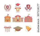 mortar board  education  school ... | Shutterstock .eps vector #307118177