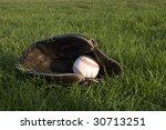 baseball and mitt on the field | Shutterstock . vector #30713251