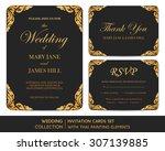 wedding invitation cards set... | Shutterstock .eps vector #307139885