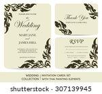 wedding invitation cards set...   Shutterstock .eps vector #307139945