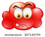 angry face on red cloud... | Shutterstock .eps vector #307140794