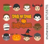 set of halloween head   trick...   Shutterstock .eps vector #307153751