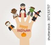 finger monsters halloween   ... | Shutterstock .eps vector #307153757