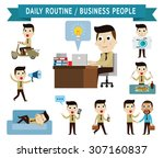 daily routine. set of full body ... | Shutterstock .eps vector #307160837