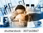 scientist with equipment and... | Shutterstock . vector #307163867