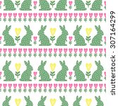 easter pattern with easter... | Shutterstock .eps vector #307164299