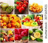 collage of fresh fruits and... | Shutterstock . vector #307165421