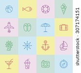 a set of line vector icons for... | Shutterstock .eps vector #307174151