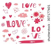 happy love pattern vector design | Shutterstock .eps vector #307177601