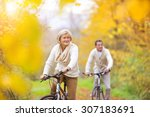 active seniors riding bikes in... | Shutterstock . vector #307183691