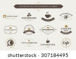 set of vintage coffee badges... | Shutterstock .eps vector #307184495