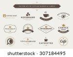 set of vintage coffee badges... | Shutterstock .eps vector #307184495