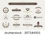 set of vintage  barber badges... | Shutterstock .eps vector #307184501