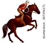 cowboy on the horse with lasso  ...   Shutterstock .eps vector #307196171