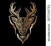 deer head. tribal pattern.... | Shutterstock .eps vector #307210751