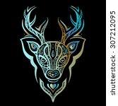 deer head. tribal pattern.... | Shutterstock .eps vector #307212095