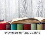 open book  hardback books on ... | Shutterstock . vector #307222541