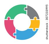 pie chart of five colored... | Shutterstock .eps vector #307233995