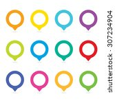 vector colorful blank map pins... | Shutterstock .eps vector #307234904