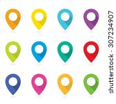 vector colorful blank map pins...