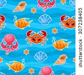 seamless sea life pattern with... | Shutterstock .eps vector #307238405