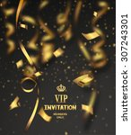 vip invitation card with gold... | Shutterstock .eps vector #307243301