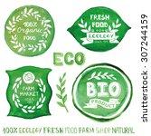 watercolor green logo.badges ...   Shutterstock .eps vector #307244159