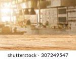 blurred background of kitchen... | Shutterstock . vector #307249547